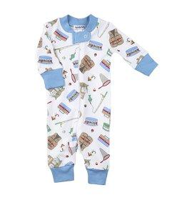 Magnolia Baby Magnolia Baby Pima Cotton Zippered Pajamas - Go Fish (Blue)