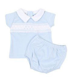 Magnolia Baby Mandy and Mason's Classics Blue Smocked Collared Diaper Cover Set