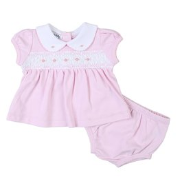 Magnolia Baby Mandy and Mason's Classics Pink Smocked Collared Ruffle Diaper Cover Set