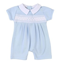 Magnolia Baby Mandy and Mason's Classics Blue Smocked Collared Short Playsuit