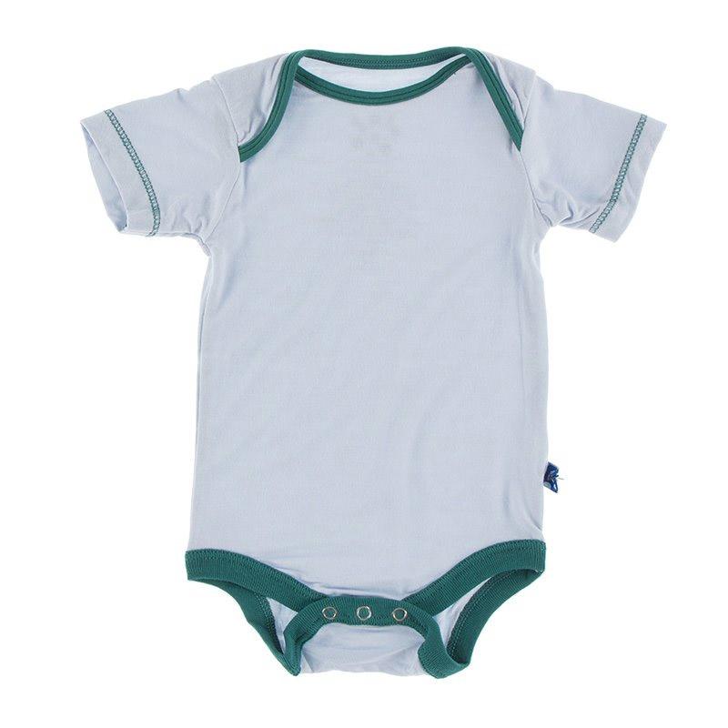 KicKee Pants KicKee Pants  Short Sleeve Onesie - Dew with Cedar
