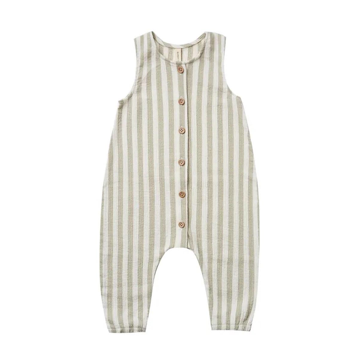 Quincy Mae Quincy Mae Woven Button Jumpsuit - Sage Stripe