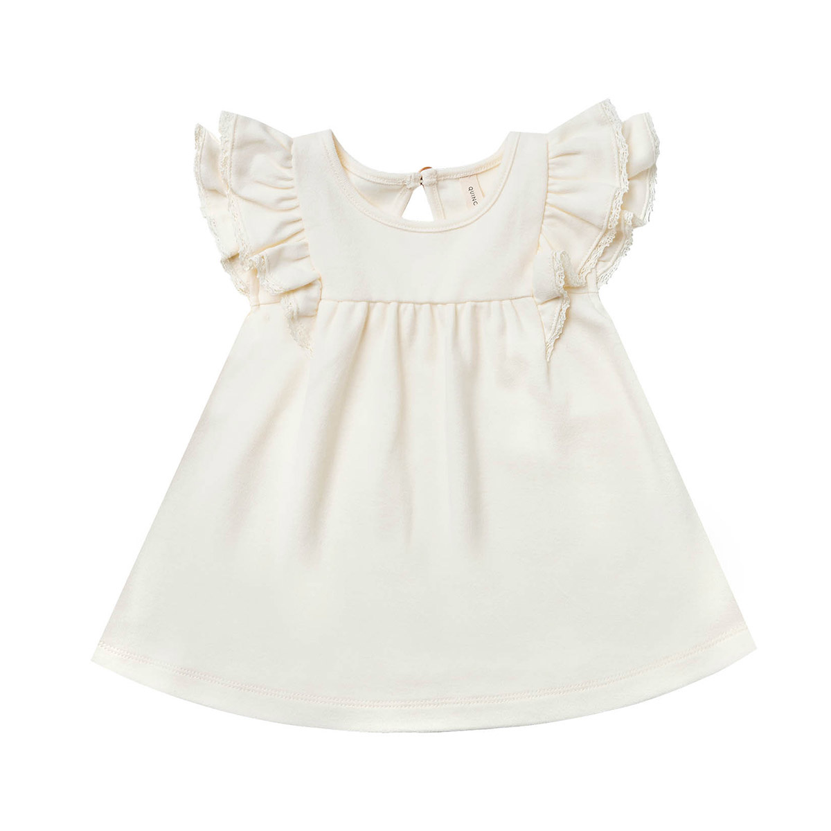 Quincy Mae Quincy Mae Organic Cotton Flutter Dress - Ivory
