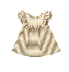 Quincy Mae Quincy Mae Organic Cotton Flutter Dress - Gold Stripe