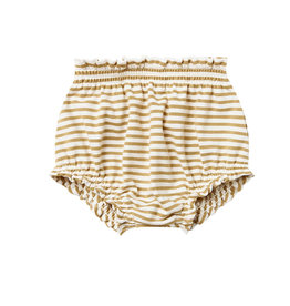 Quincy Mae Quincy Mae Organic Cotton Gathered Bloomer - Gold Stripe