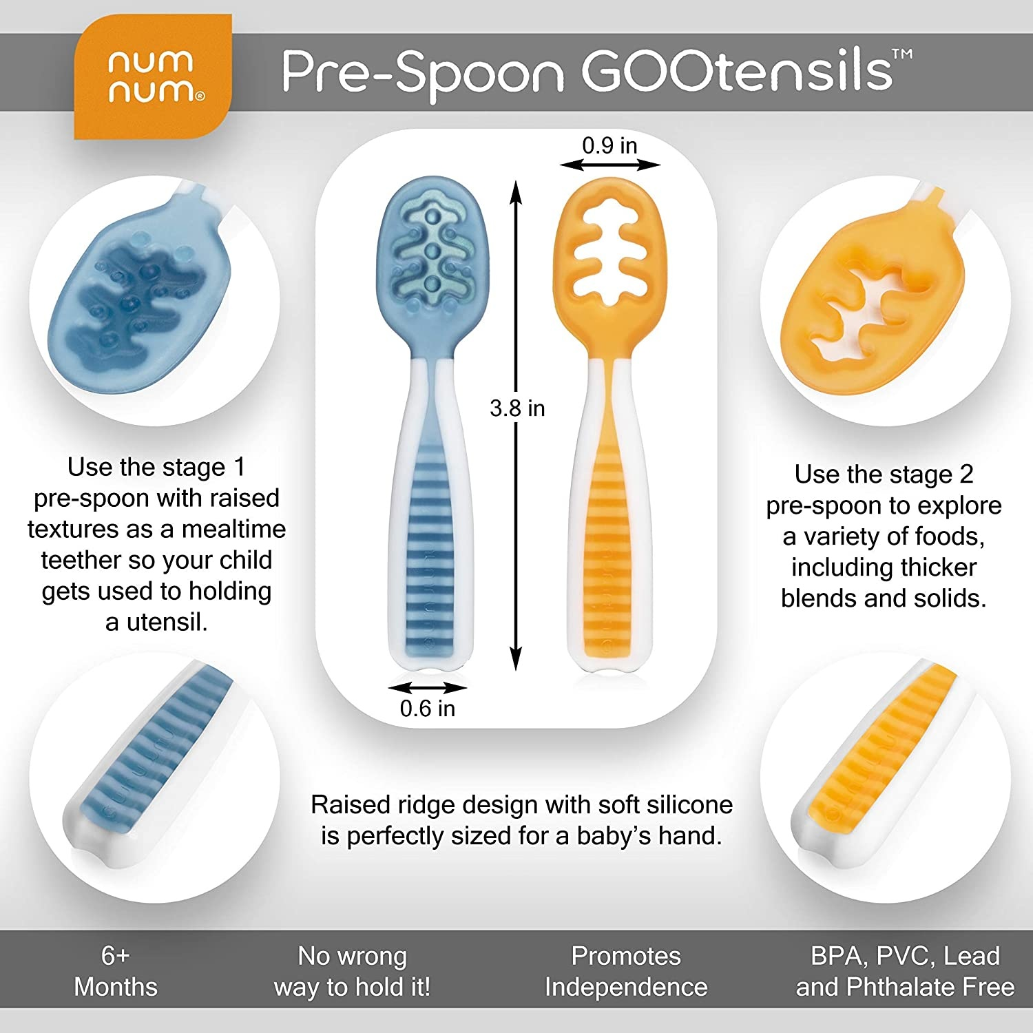 First Stage + Second Stage Toddler Utensil NumNum Pre-Spoon GOOtensils | BPA Free Silicone Self Feeding Baby Baby Spoon Set Lilac//Rosebud 2-Pack