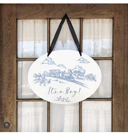 Maison Nola Storyland Toile New Baby Announcement Door Hanger