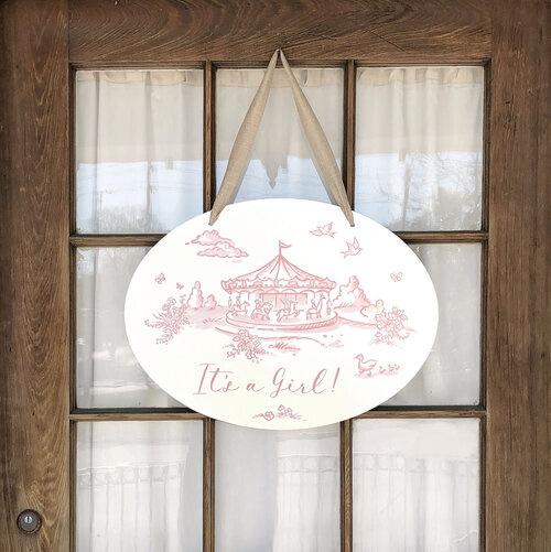 Maison Nola Storyland Toile New Baby Announcement Door Hanger (in store exclusive)