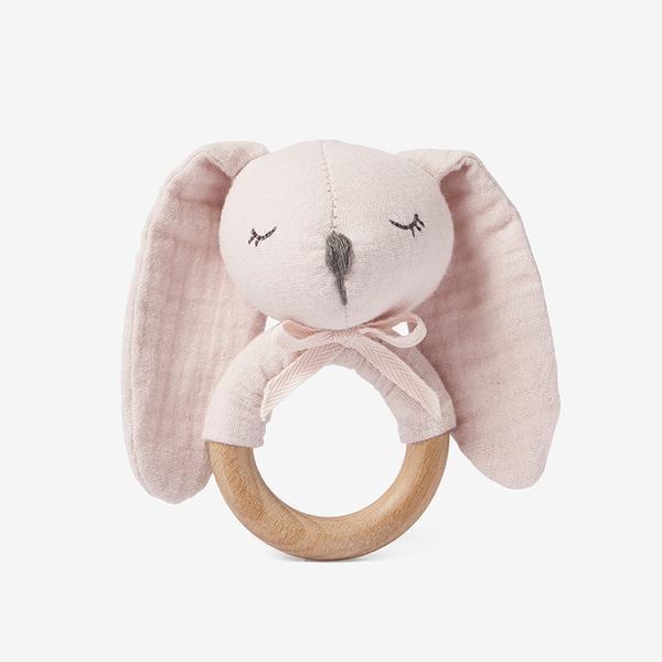 Elegant Baby Pink Bunny Organic Muslin Wooden Baby Rattle