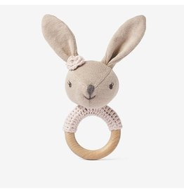 Elegant Baby Bunny Wooden Baby Rattle