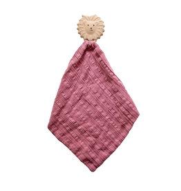 Tikiri Lion Comforter in Dusty Pink Muslin w/Natural Rubber Teether