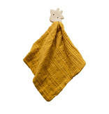 Tikiri Giraffe Comforter in Mustard Yellow Muslin w/ Natural Rubber Teether