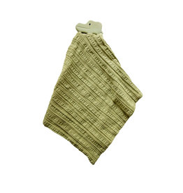 Tikiri Alligator Comforter in Olive Green Muslin w/ Natural Rubber Teether