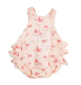 Angel Dear Flamingo Muslin Ruffle Sunsuit