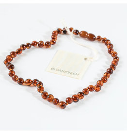 "Canyon Leaf Baltic Amber 11"" Necklace (Polished) - Cognac"