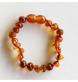 "Canyon Leaf Baltic Amber 5"" Bracelet (Polished) - Cognac"