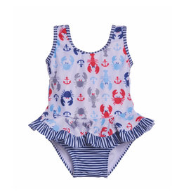 Flap Happy Crabby Crawfish Stella Infant Ruffle Swimsuit  UPF 50+