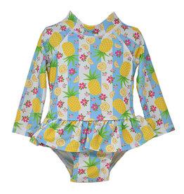 Flap Happy Pineapple Passion Alissa Infant Ruffle Rash Guard  Swimsuit  UPF50+