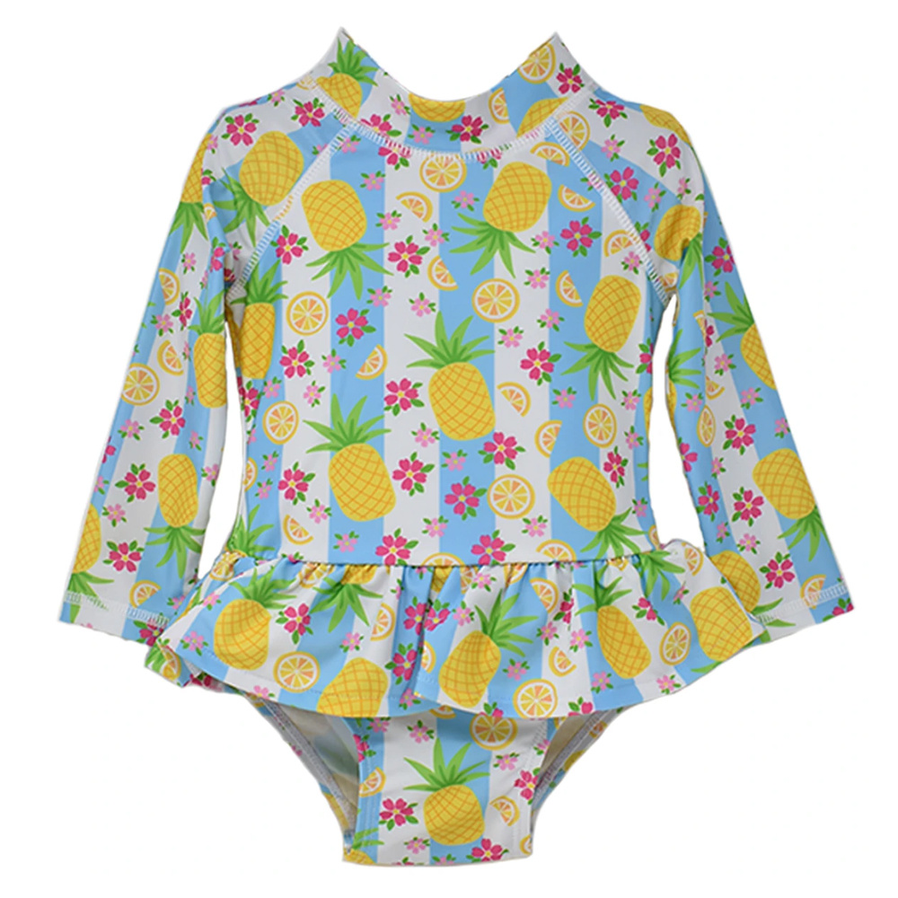 Flap Happy Pineapple Passion Alissa Infant Ruffle Rash Guard  Swimsuit  UPF50+