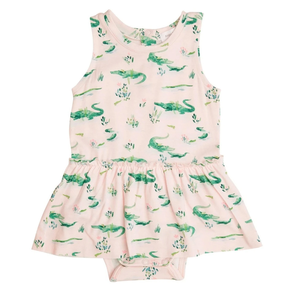 Angel Dear Pink Gators Bamboo Bodysuit with Skirt