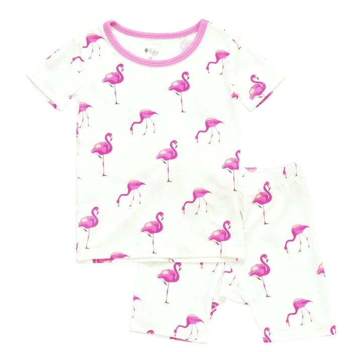 Kyte Baby Kyte Bamboo Short Sleeve Toddler Pajama Set Flamingo
