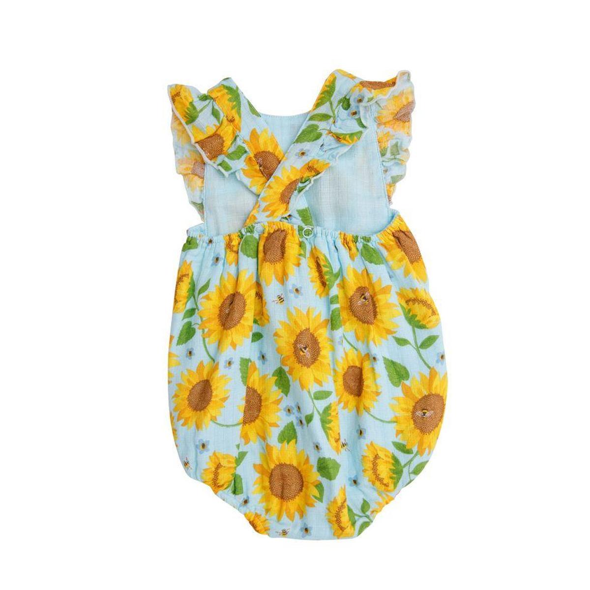 Angel Dear Sunflowers Muslin Sunsuit - Whispering Blue