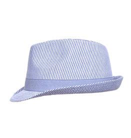 Flap Happy Fedora Club Hat UPF 50+ - Chambray Stripe Seersucker