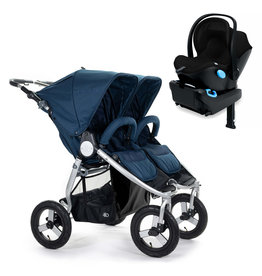 Bumbleride Bumbleride Indie Twin Maritime Blue Stroller + Single Clek Liing Car Seat Travel System (with one free adaptor)