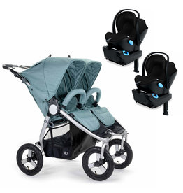 Bumbleride Bumbleride Indie Twin Sea Glass Stroller + Two Clek Liing Car Seats Travel System (with two adaptors)
