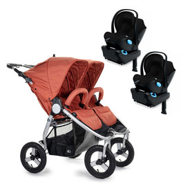 Bumbleride Bumbleride Indie Twin Clay Stroller + Two Clek Liing Car Seats Travel System (with two adaptors)