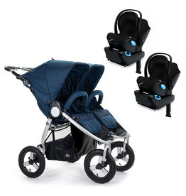 Bumbleride Bumbleride Indie Twin Maritime Blue Stroller + Two Clek Liing Car Seats Travel System (with two adaptors)