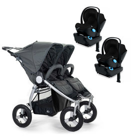 Bumbleride Bumbleride Indie Twin Dawn Grey Stroller + Two Clek Liing Car Seats Travel System (with two adaptors)