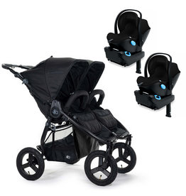 Bumbleride Bumbleride Indie Twin Matte Black Stroller + Two Clek Liing Car Seats Travel System (with two adaptors)