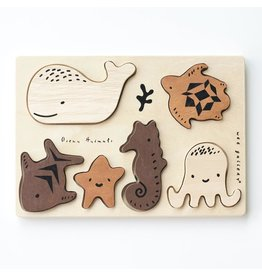 Wee Gallery Ocean Animals Rubberwood Tray Puzzle