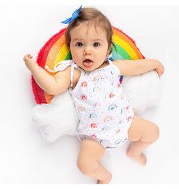 Nola Tawk Over the Rainbow Organic Shoulder Tie Onesie