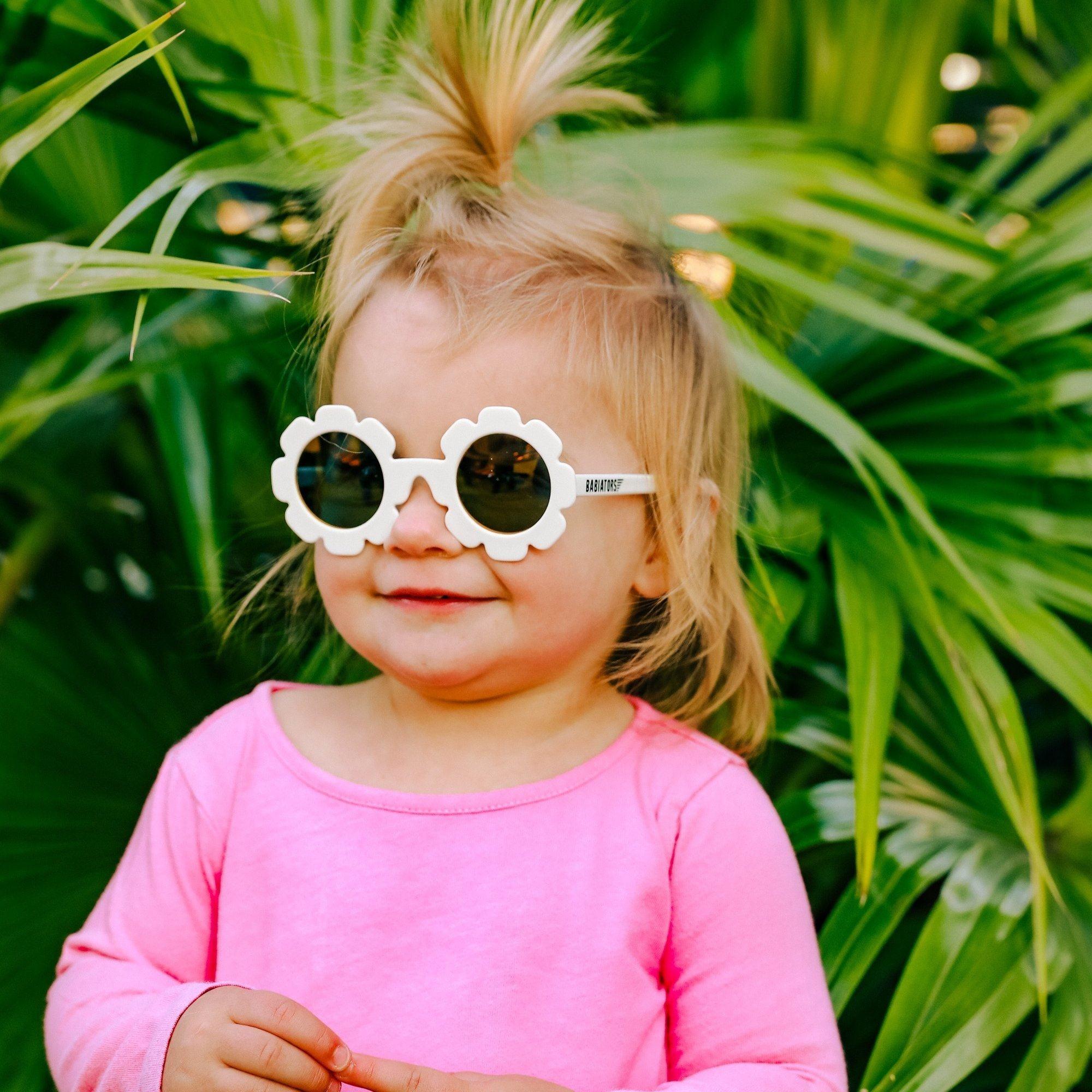 Babiators Babiators The Flower Child White -  Flower-Shaped Polarized Baby & Child Sunglasses with Mirrored Lenses