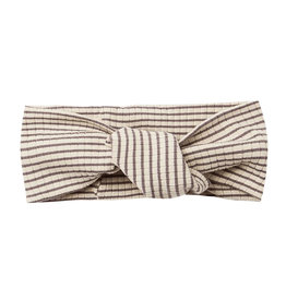 Quincy Mae Quincy Mae Ribbed Baby Turban - Charcoal Stripe