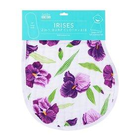 Little Hometown Purple Iris Bamboo Burp Cloth Bib