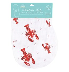 Little Hometown Heads and Tails 2-in-1 Burp Cloth Bib