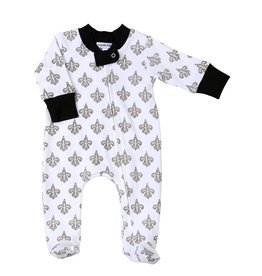 Magnolia Baby Black and Gold Pima Zippered Footie