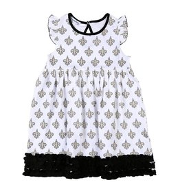 Magnolia Baby Black and Gold Pima Flutters Toddler Dress 2T