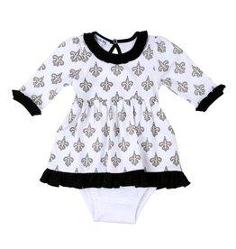 Magnolia Baby Black and Gold Long Sleeve Pima Dress Set