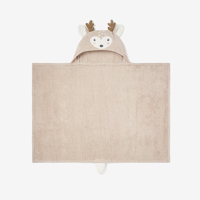 Elegant Baby Baby Bath Wrap Cotton Velour Hooded Towel - Fawn