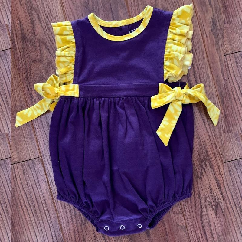 Lulu Bebe LSU Purple Knit Pima Ruffle Bubble