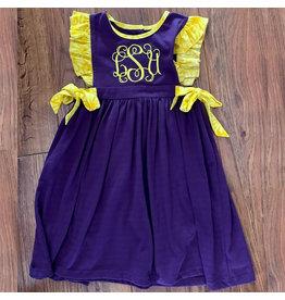 Lulu Bebe LSU Purple Knit Pima Ruffle Dress