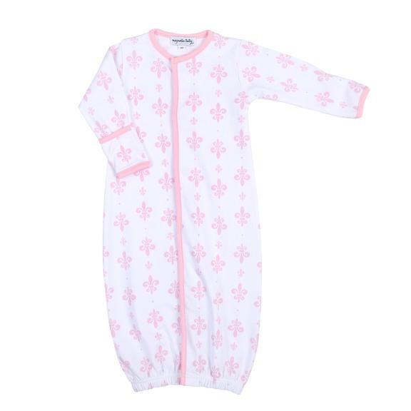 Magnolia Baby Fleur de Lis Pink Pima Converter Gown