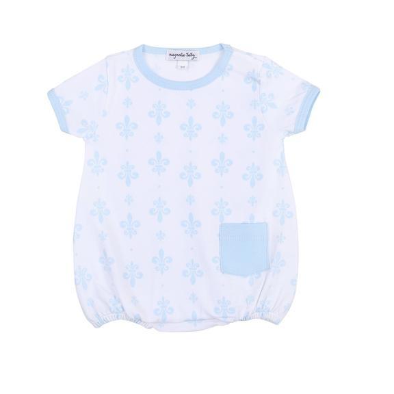 Magnolia Baby Fleur de Lis Blue Pima Short Sleeve Bubble