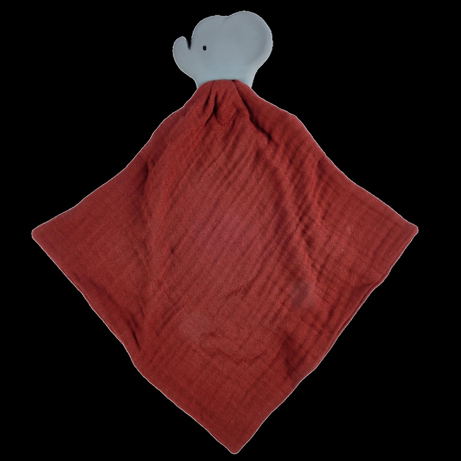 Tikiri Elephant Comforter in Red Muslin w/Natural Rubber Teether