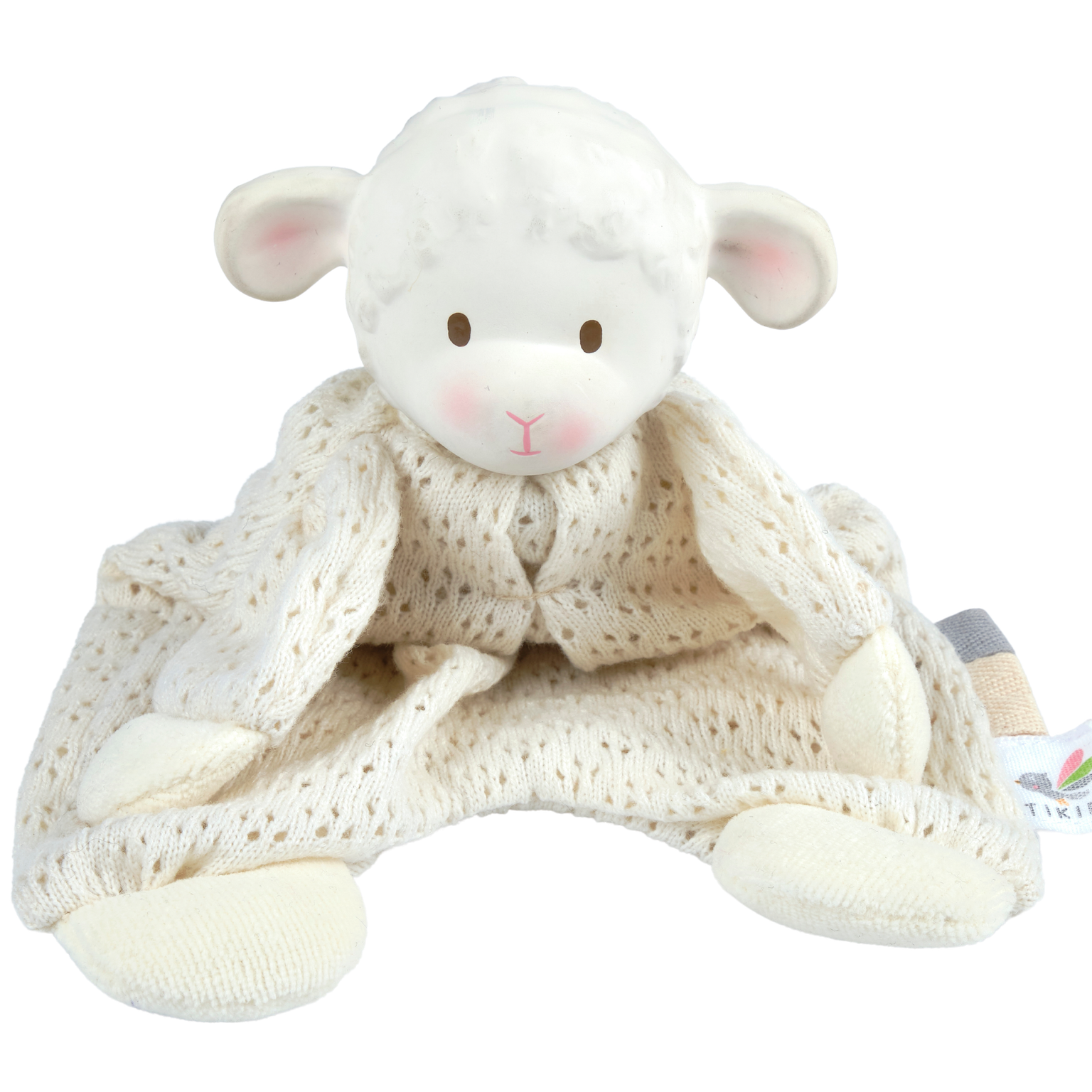 Tikiri Bahbah the Lamb Baby Lovey with Natural Rubber Teether Head
