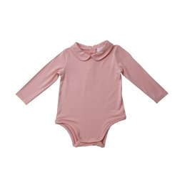 Angel Dear Pink Vintage Calico Peter Pan Collar Bamboo Bodysuit